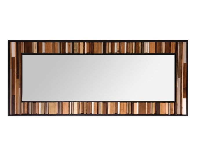 "Reclaimed Wood Leaner Mirror - Floor Mirror - ""Reclaimed Reflection""- 32x78"" - Modern Wood Wall Art - Abstract Wood Art - Reclaimed Mirror"