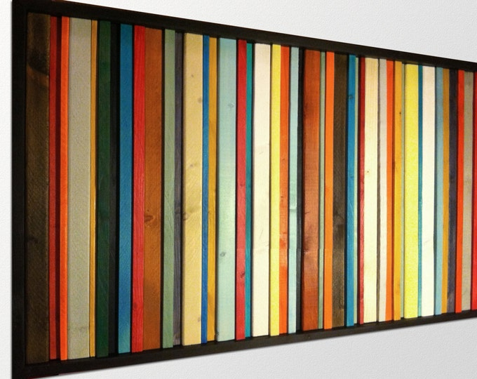 Fiesta - Modern Wood Wall Art - Reclaimed Wood Art - Abstract Wood Art in Red, Orange, Greens, Blues, and Yellows