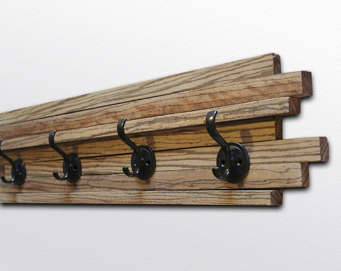 Zebrawood Coat Hook - Four hooks - Vertical Wood Stripes - 6x28""