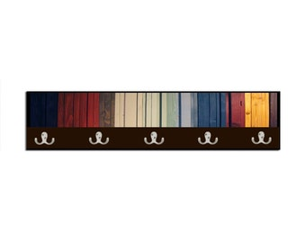 India Gradient Reclaimed Wood Wall Art Coat Hook  - Browns, blues, reds and yellow wood