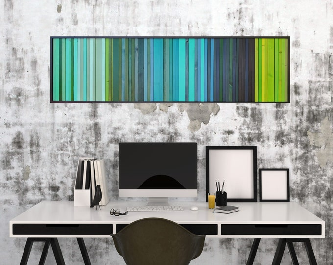 "Reclaimed Wood Art - ""Lagoon"" - Wood Stripes in Blue, Green, and Teal Wood Wall Art, Abstract, Minimalist Art"
