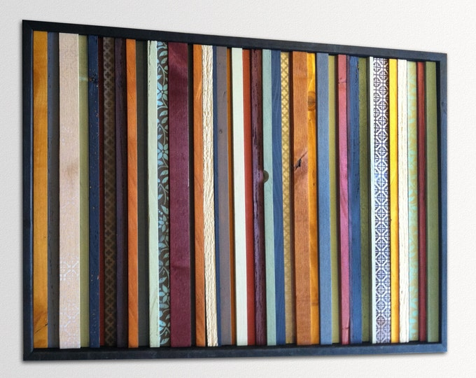 """Modern Wood Wall Art - """"India"""" - Wood Stripes in Orange, Yellow, Blues, Reds - 25"""" x 36"""" - Abstract Wood Art - Modern Wood Painting"""