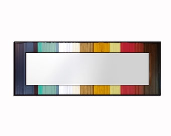 """Ready to Ship Reclaimed Wood Leaner Mirror - 25x70"""" - Floor Mirror - """"Gradient Reflection""""- Modern Wood Wall Art- Wood Sculpture"""