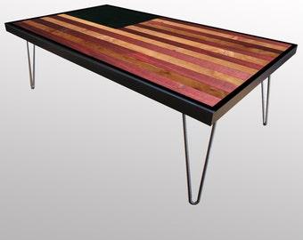 Reclaimed American Flag Wood Coffee Table or Desk - Modern Wood Art - Reclaimed Wood Desk