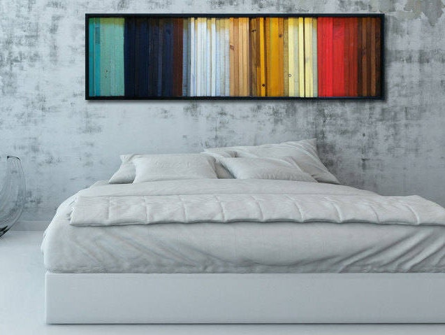 Modern Wood Wall Art - Gradient- Wood Stripes in Red, Yellow, Brown ...