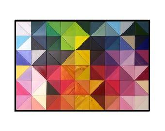 "Modern Wood Wall Art - ""Origami"" - Wood Triangles in Rainbow Colors - 30""x45"" - Wood Wall Art, Wood Wall Sculpture"