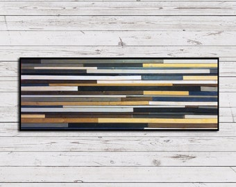 Reclaimed Wood Art in Browns, Blues, Grays, and White Stripes - Modern Wood Wall Art - Wood Sculpture