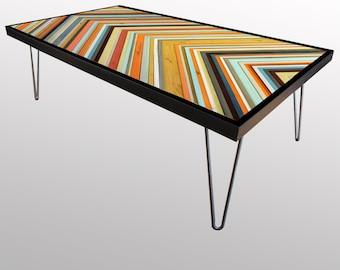 "Modern Reclaimed Wood Table - Chevron Coffee Table/Desk - ""Coral Reef"" - Modern Wood Art - Abstract Wood Art"