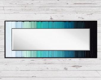 "Lake Reflection - Reclaimed Wood Art - 24""x60"" - Wood Mirror in Teals, Blues, and Black - Modern Wood Wall Art - Wood Paintings, Minimalist"