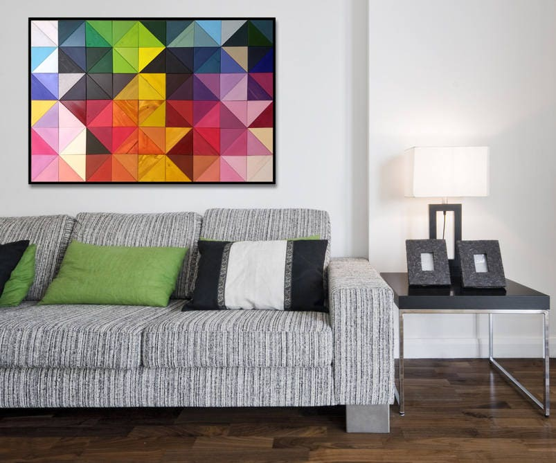Modern Wood Wall Art - Origami - Wood Triangles in Rainbow Colors ...