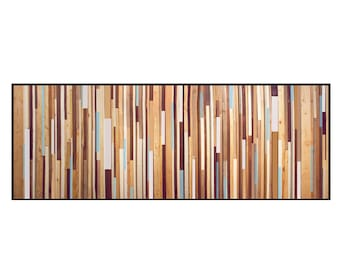Blue Wash Reclaimed Wood Wall Art - Wood King Headboard in Browns, Tan, Cream, Light Blue, and Gray Stripes