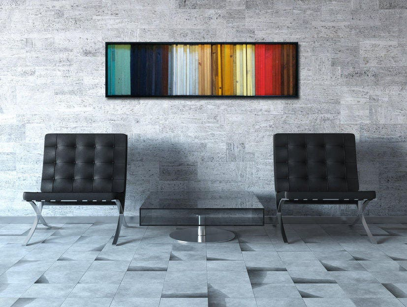 Colorful Wood Art - Modern Wood Wall Art - Gradient - Wood Stripes ...