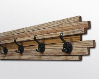"Zebrawood Coat Hook - Four hooks - Vertical Wood Stripes - 6x28"""