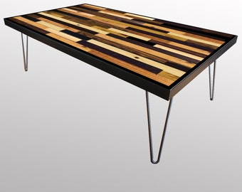 Stained Reclaimed Wood Coffee Table or Desk - Reclaimed Wood Art - Modern Wood Art - Abstract Wood Art