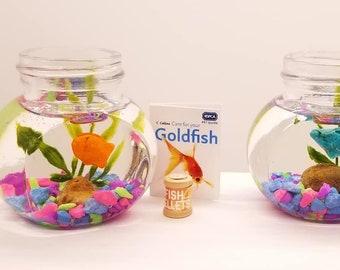Mini Tropical Aquarium, Goldfish, Beta or Turtle/Frog Terrarium for 11.5 inch doll, 14 inch doll, 18 inch BJD doll, (Ready to Ship)