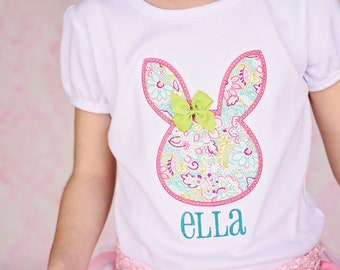 133e0b467c Easter Bunny shirt with name. Floral rabbit head with 3D bow. Infant  bodysuit