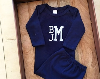 6ecde12596 Baby Boy Monogrammed Navy blue Gown. Monogram Name. New baby shower  present. Boutique baby clothing. Embroidered. Baby Boy Gifts