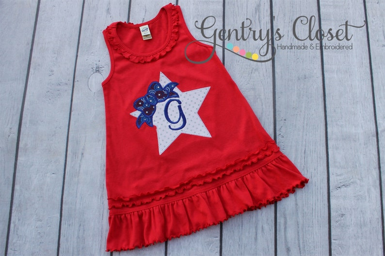 Red 4th of July Dress for Infant Toddler Little Girl. Fourth image 0