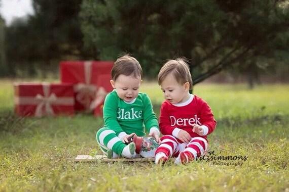 Christmas pajamas with monogram for baby, toddler child
