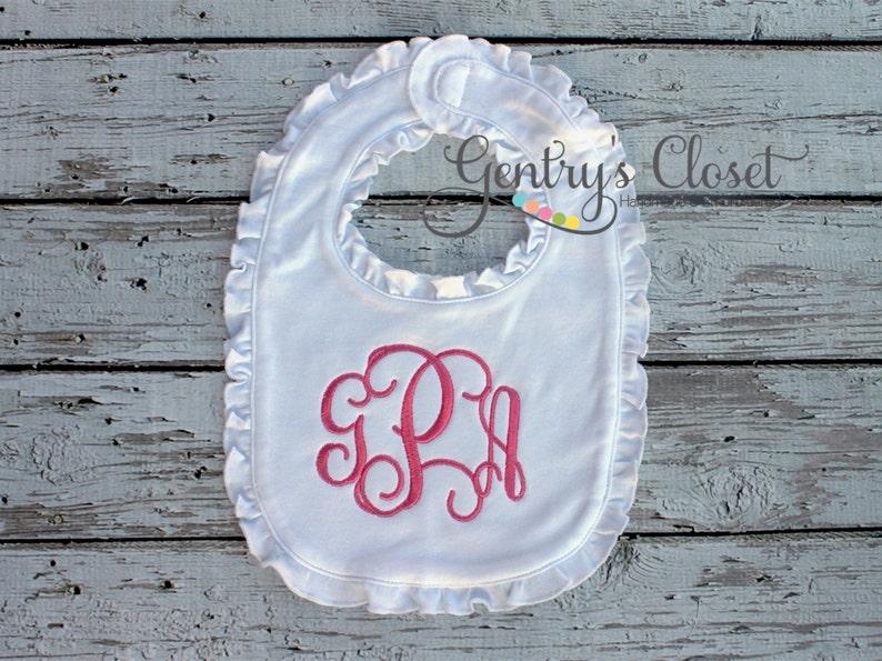 Ruffle bib with monogram. Embroidered baby shower gift. image 0