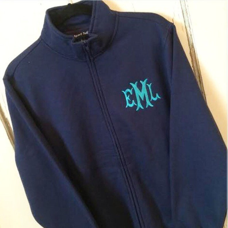 Monogrammed Full Zip Cadet Collar Sweatshirt. Warm cardigan image 0