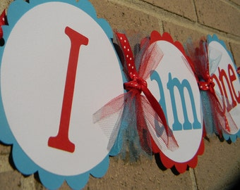 I Am One High Chair Banner Red and Aqua