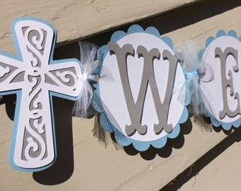 Baptism First Holy Communion Name Banner Light Blue and Grey