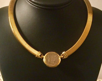 Vintage FRENCH COIN Gold Snake Chain Choker Necklace Napoleon Empereur France
