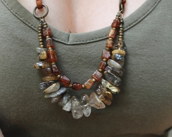 Rutilated Quartz with Hessonite Garnet Necklace // long bohemian layer necklace