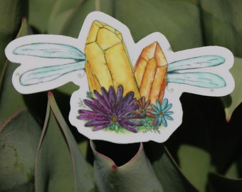 Crystal Fairies Amongst the Flowers // Sticker // watercolor // garden gypsy collective