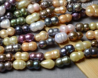 Double Beads Baroque Pearls 12-14 x 21-25 mm Half Strand Large Hole Baroque Peanut Pearls Natural Pink Color 635-PBSW1228 Peanut Pearl