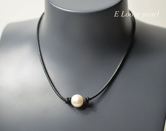 leather pearl necklace real leather necklace leather pearl choker pearl necklace pearl leather necklace white freshwater pearl PL9001
