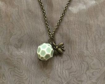 Handmade bee pendant necklace honeycomb charm