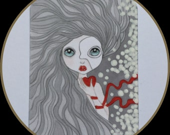 Original art Atc phantom mermaid lowbrow fantasy collectible