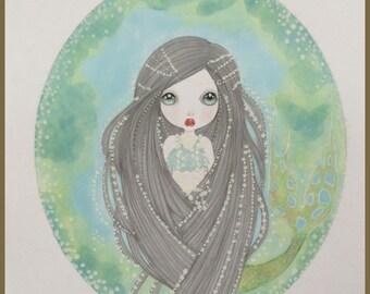 Original art pearly mermaid fantasy lowbrow art