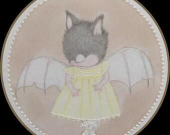 Originalart baby bat fantasy lowbrow fantasy art