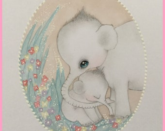 Original art Mother's Day elephants lowbrow fantasy art