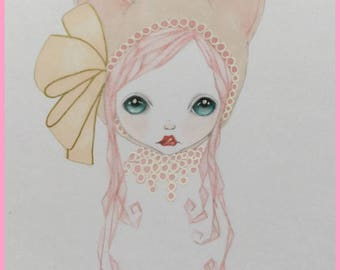 Original art pretty pink kitty lowbrow fantasy art