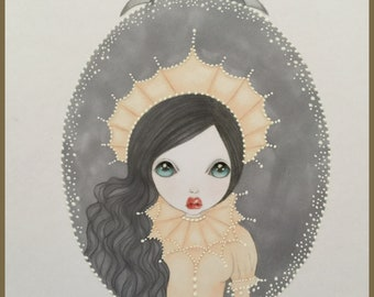 Original art vampire queen fantasy lowbrow art