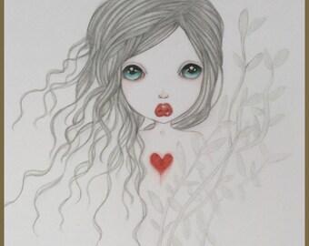 Original art vampire mermaid lowbrow fantasy art