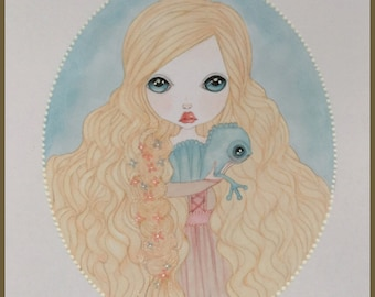 Originalart Rapunzel lowbrow fantasy art