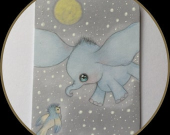 Original art Atc/aceo Dumbo lowbrow fantasy art