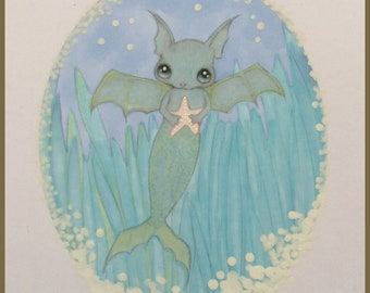 Original art Merbat mermaid lowbrow fantasy art