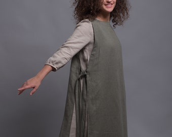 Long Gray Linen Tunic Dress NERO Light Linen Summer Dress  c4bc7131f
