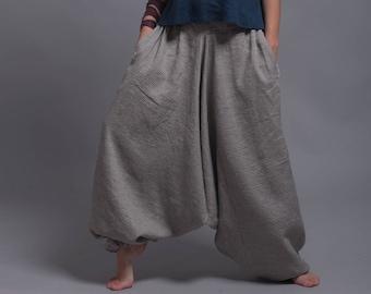 c70aaf12ee5 Linen Harem Pants with Side Pockets