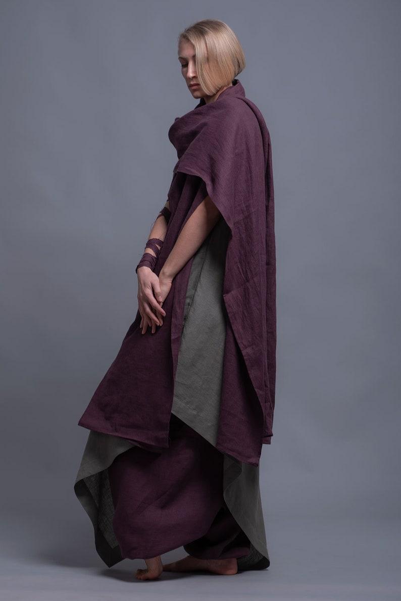 Linen Outfit  3 Items  Harem Pants Loose Fit Maxi Dress image 0