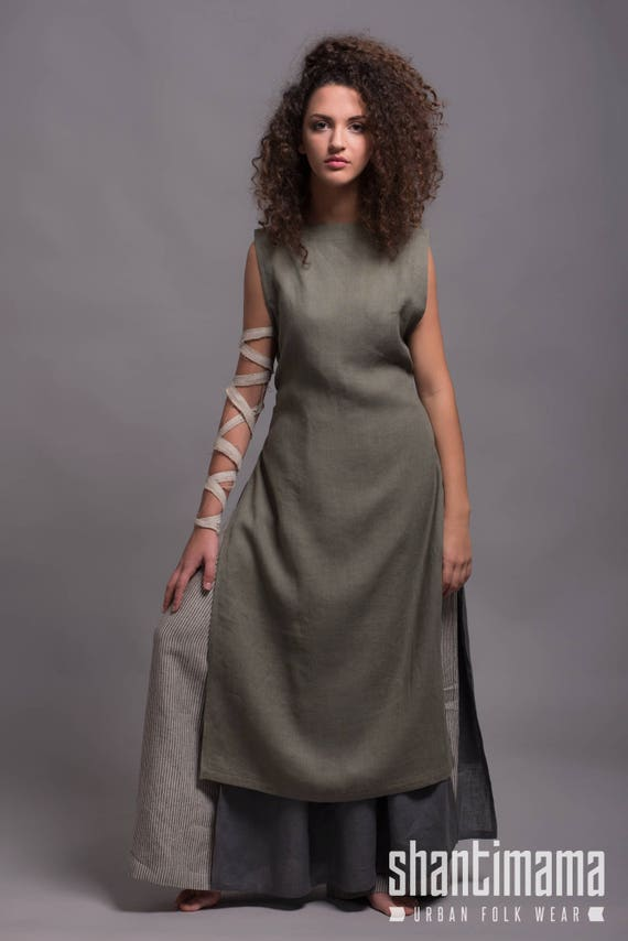 Linen Apron Dress LINAS, Viking Linen Dress, Rustic Day Dress Plus Size,  Country Style Linen Dress, Feminine Simple Dress, Lagenlook Dress
