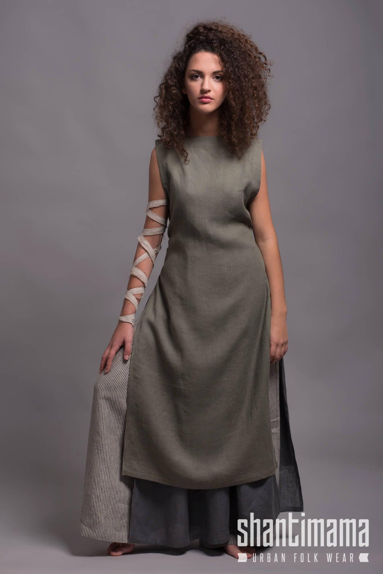 Linen Apron Dress LINAS Viking Linen Dress Rustic Day Dress   Etsy