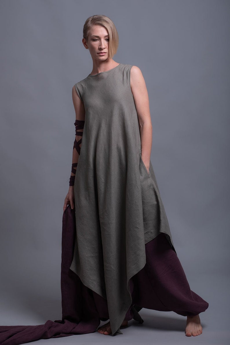 YUCCA Asymmetric Linen Tunic Dress Long Loose Fitting image 0