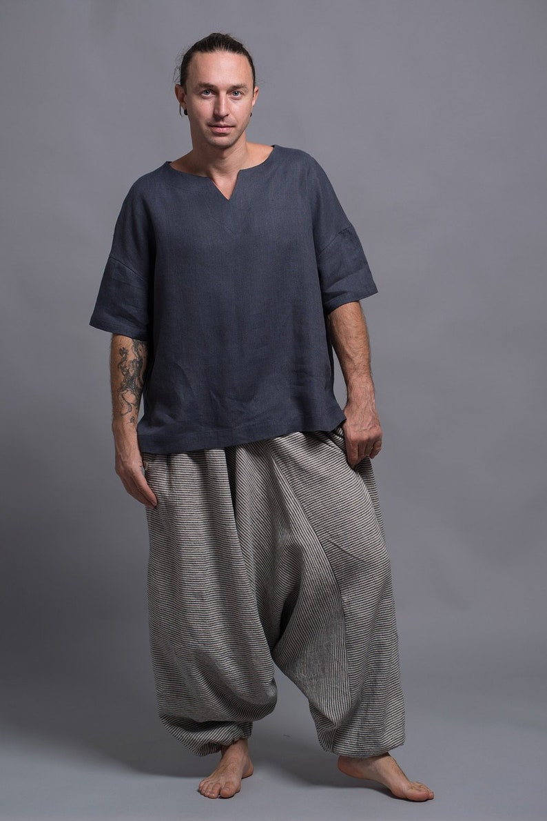 ZIV Linen T-Shirt for Men Natural Flax Top Loose Summer image 0